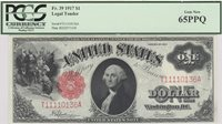 Fr No.39 1917 $1 This Gem New 65 crisp 1917 small red seal issue with red Serial Numbers (without the ornamental frame) and signed by Speelman/White, received the Premium Paper Quality designation from PCGS and presents a bright note that is reasonably well centered within uniform full margins Gem CU