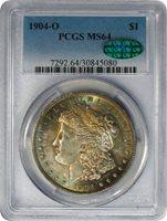 1904-O $1 Morgan Silver Dollar PCGS MS64 Rainbow Toning