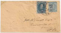 CSA #4 Stone 2 (not plated) (margin irregular at the right) and CSA #6 (slight clip to the upper right corner) used in combination to make the 10c rate and tied together and to the cover by the Richmond, VaCDS Powell Type 3a 2 JUL 1862 (one day after the rate change).Addressed to Jno W. Stovall Esqr, Townesville PO, Granville Co., N. Ca.Part of top back flap missing and an unobtrusive edge repair at topcenter to the left of the stamps. Clean appearing cover. Ex-Bogg.John Walker Stovall (1814