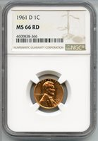 1961-D Lincoln Memorial Cent NGC MS 66 RD - Large Date - Denver