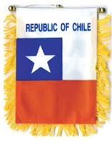 "CHILE MINI BANNER FLAG 4 x 6"" with BRASS STAFF & SUCTION CUP - NEW"