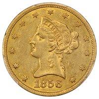 1856-S $10 PCGS AU53 ex: D.L. Hansen