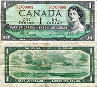 """Canada 1 Dollar Pick #: 74b 1961-72 F/VG Green Queen Elizabeth II; Open landscapeNote 6"""" x 2 3/4"""" North and Central America None Discernible"""