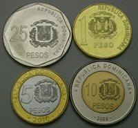 DOMINICAN REPUBLIC 1 Peso / 25 Pesos 2008/2015 - Lot of 4 Coins - UNC *