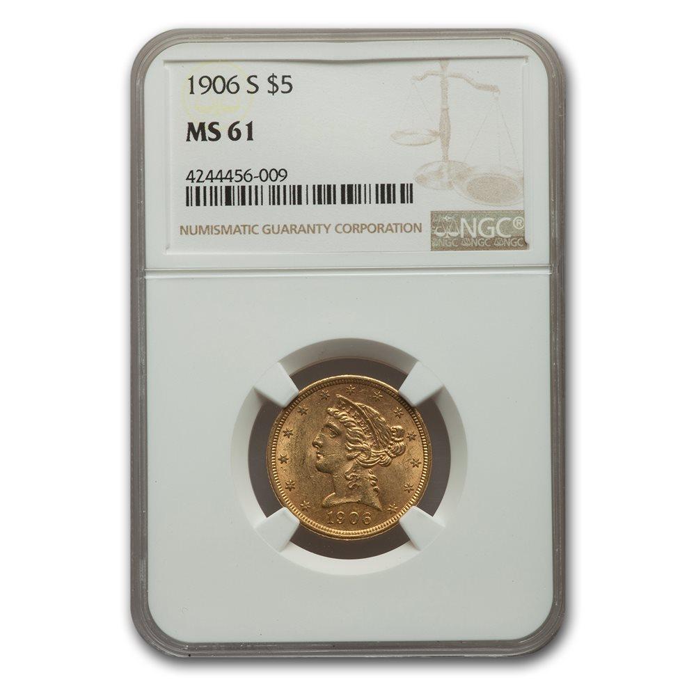 1906-S $5 Liberty Gold Half Eagle MS-61 NGC