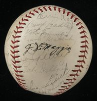 1937 New York Yankees team autographed baseball (World Champions).