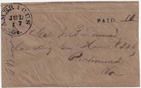 Stampless Americus, Ga CDS 17 JUL (1862) with handstamp PAID 10(ms) Type A 10(ms). Coarse brown paper cover with Military Address to Col J. B. Lamar Care Brig Gen Howell Cobb, Richmond, Va. Very clean cover. Reduced at right secondary to a rough opening.HowellCobb (1815-1868) was the most prominent Georgia politician of his day,andhis history is well known. Former Speaker of the USA House ofRepresentatives, former Governor of Georgia among other offices, andlater in 1863 a CSA Major-General