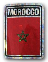 "Morocco Country Reflective Decal Bumper Sticker 3.875"" x 3"""