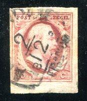 Lot id: 6249 - Netherlands #2 ImperforateScott #2 1852 Four Margins, Bold Cancel. Fine - Very Fine