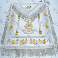 MASONIC REGALIA PAST MASTER APRON WHITE FULLY HAND EMBROIDERED-HSE