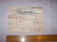 1898 J.N. HICKMAN Funeral Bill TERRE HAUTE INDIANA - Casket Slippers Carriage