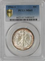 1944-S Walking Liberty Half 50c #939238-1 MS65 Secure Plus PCGS