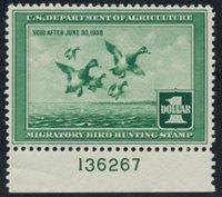 Scott RW4, XF-Superb LH, Plate # Single (#136267), 1937 Duck Stamp