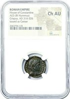 Roman Emperor Crispus Bronze Coin NGC Certified Ch AU,With Story,Certificate