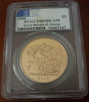 Great Britain 2006 Gold 5 Pounds Sovereigns PCGS PF69 DCAM