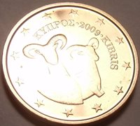 GEM UNC CYPRUS 2009 1 EURO-CENT~DOUBLE RAMS~FREE SHIP~