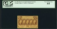 1862 25 CENTS FRACTIONAL CURRENCY FR-1281 CERTIFIED PCGS CHOICE UNCIRCULATED 64