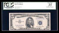 DBR $5 1953 Silver Fr. 1655 CA Block PCGS 35 Serial C49455314A