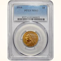 1914 Pcgs MS63 $5 Indian Gold