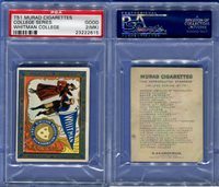 1909 T51 MURAD CIGARETTES COLLEGE SERIES WHITMAN COLLEGE PSA 2 MK (2615)