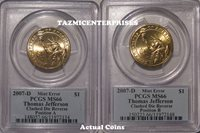 2007 D Jefferson $1 Extra Spike Clashed Die Error PCGS MS66 Pos A & B 8th Ray