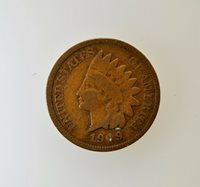 1909 Indian Head Copper Cent Penny Philadelphia Mint .01C Coin Last Year Issue