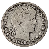 1909-O Barber 50C Half Dollar Fine Condition, Natural Color, Some Toning