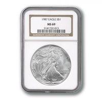 USA American Silver Eagle $1 1987 NGC MS69 Slab