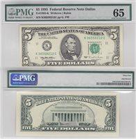 1995 $5 Dallas District Federal Reserve Note Fr 1985-K PMG Gem 65