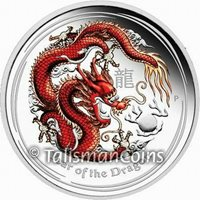 Australia 2012 Year Dragon $1 1 Oz Pure Silver Dollar Red Color PROOF FULL OGP