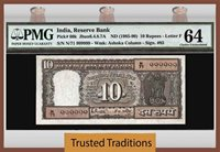 10 Rupees 1985-90 India Exotic Serial Number Solid 999999 Pmg 64