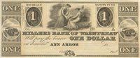 Ann Arbor Millers Bank of Washtenaw 18-- $1 Unl ANN-5-2 45-G2 -- A remainder engraved by Underwood, Bald, Spencer & Hufty with full uniform margins, centering shifted slightly Ch AU