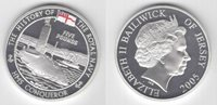 JERSEY COLORED SILVER 5 POUNDS PROOF COIN 2005 YEAR SUBMARINE CONQUEROR KM#135a