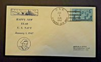 1947 USS OHare DD 889 To Jacksonville FL Happy New Year Illustrated Naval Cover