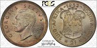 South Africa 2 Shillings 1952 MS65 PCGS silver KM#38.2 Rainbow Hues Color Tone
