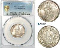 AD495, Switzerland, 1 Franc 1914-B, Bern, Silver, PCGS MS67
