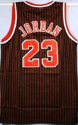 the best attitude 09b27 f03c0 Michael Jordan Autographed Black Pinstripe Bulls Jersey