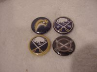 Lot Of 4 Different Buffalo Sabres Old Logo 1 Inch Pinbacks, MINT!!