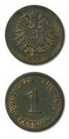 Germany Deutschland One Pfennig 1876 F About Unc Red Unc Details KM-1