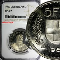 1954 Switzerland 1 Rappen Coin BU Very Nice UNC KM# 46