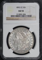 1892-CC $1 AU55 NGC