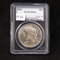 1925 Silver Peace Dollar, PCGS certified MS64, Gem Uncirculated, In Holder