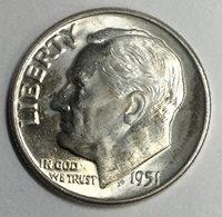 1951- D Roosevelt Dime BU Full Torch Uncertified #