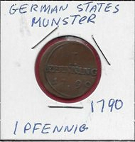 GERMAN STATES MUNSTER CATHEDRAL CHAPTER 1 PFENNIG 1790 1 YEAR TYPE,LEGEND:MUNSTE