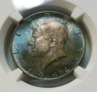 1964 Kennedy Silver Half Dollar NGC MS 64 Blue Monster End Roll Toning Toned