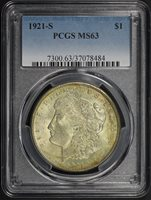 1921-S $1 MS63 PCGS