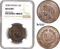AE254, France, Third Republic, 10 Centimes 1878-K, Bordeaux, NGC MS64BN, Pop 1/0