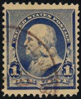 Scott 219, XF, 1890 1c dull blue