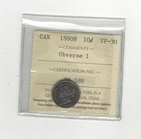 1880H Obv.# 1, ICCS Graded Canadian, 10 Cent, **VF-30**