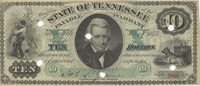 "Nashville State of Tennessee 1875 $10 8 Unl Unl Unl Engraved by American Bank Note Co., this punch cancelled Reconstruction Period issue is overprinted in green with a protector panel  & ""X"" each side of the central portrait on the face and  a large declarative panel verso ; the left margin is trimmed just to the device VF/XF"
